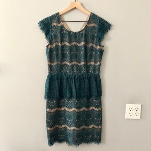 Maeve Elsa Peplum Lace Teal Green Size Medium
